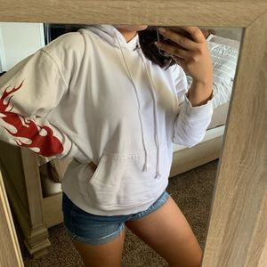 White hoodie w/ red flames